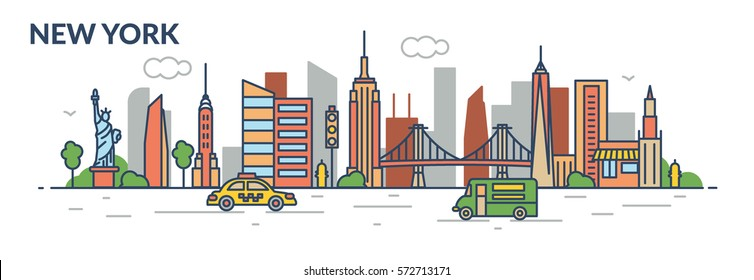 New York city. Line style. Vector illustration
