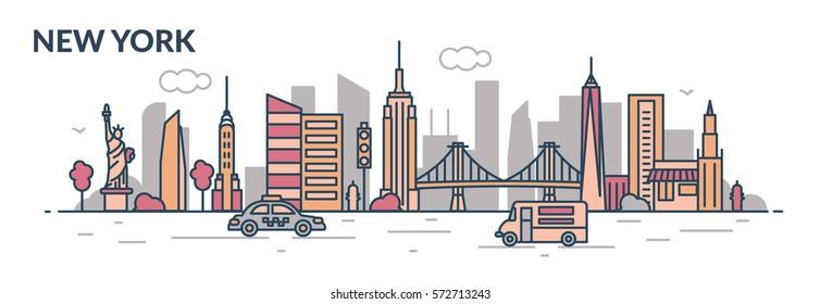 New York city. Line style. Vector illustration