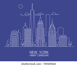 New York city line vector illustration. Famous buildings and skyscrapers. Cityscape.