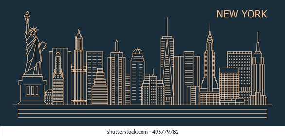 New York city linear style skyline with buildings, towers, vector illustration