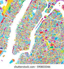 New York City Manhattan Colorful Map, printable outline Version, ready for color change, Artprint