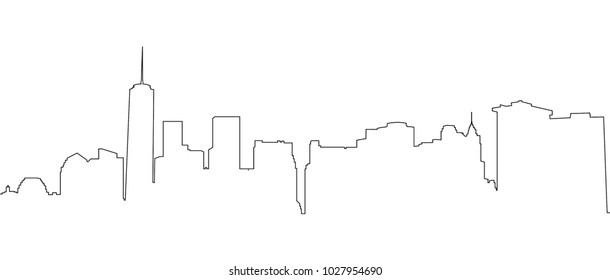 New York City, Manhattan.  NYC black and white background. Vector Contour illustration.