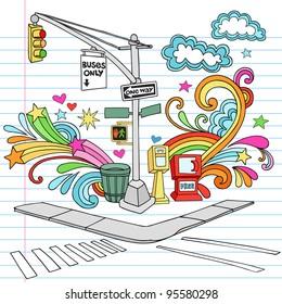 New York City Manhattan Sidewalk Corner Notebook Doodle Design Elements Set on Lined Sketchbook Paper Background- Hand Drawn Vector Illustration