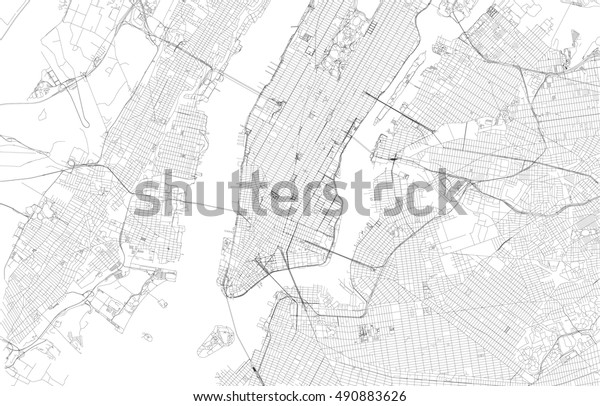 New York City On Map Of Usa.New York City Map Streets Usa Stock Vector Royalty Free 490883626