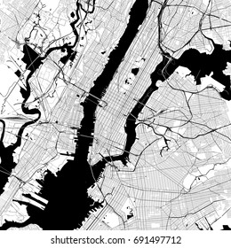 New York City Monochrome Vector Map. Very large and detailed outline Version on White Background. Black Highways and Railroads, Streets and Water.