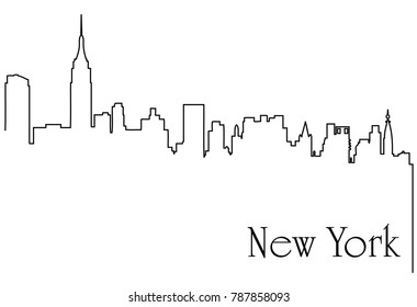 New York city one line drawing background