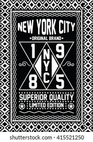 New York City original brand, superior quality vector print and varsity. For t-shirt or other uses in vector.T shirt graphic