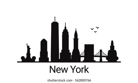New York city outline skyline. All New York buildings - customizable objects, so you can simple change skyline composition. Minimal design.