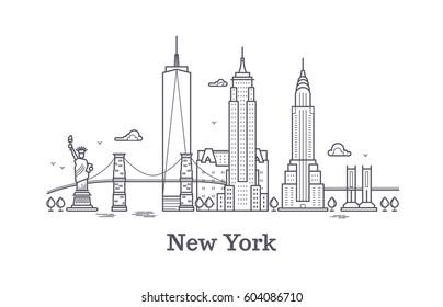 New York city outline skyline, nyc line silhouette, usa tourist and travel vector concept