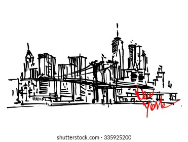 New York city panorama. Brooklyn Bridge. City skyline hand drawn, sketch