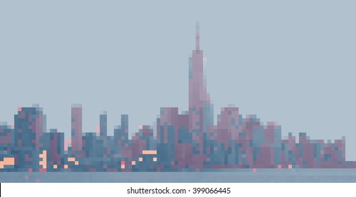 New York City. Panorama from Hoboken. Pixels picture