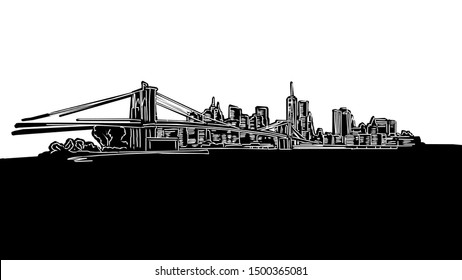 New York City Panorama Silhouette Drawing. Hand-drawn illustration in the form of a woodcut for digital and print projects.