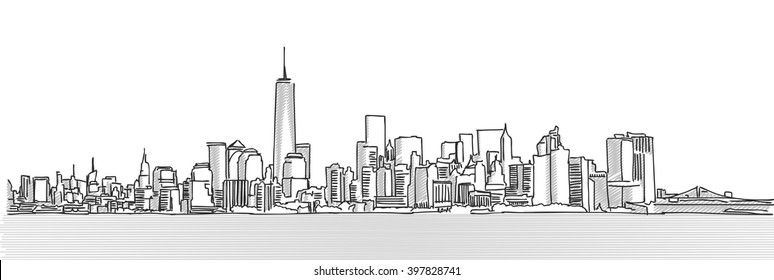 New York City Panorama Skyline, Free Hand Sketch, Vector Drawing
