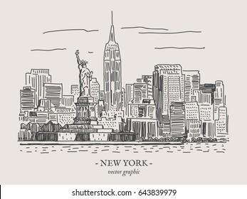 New York city retro vintage vector illustration on gray backgtound