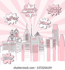 New York city scape on Retro sun ray background with pop art comic fight supergirl power text bubbles . Hand drawn vector doodle graphics. Pink and black colours. Perfect for girlish design.