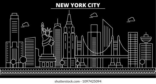 New York City silhouette skyline. USA - New York City vector, american linear architecture, buildings. New York City travel illustration, outline landmarks. USA flat icon, american line banner