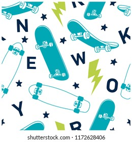 New York city skater  seamless pattern. Skateboards vector print. Vector illustration design for fashion fabrics, textile graphics, prints, wallpapers and other uses.