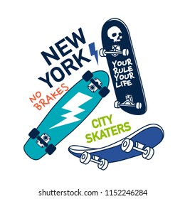 New York city skaters vector illustration.Skateboards vector print.