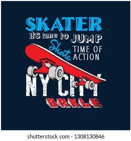 New York city skaters vector illustration.Skateboards vector print.