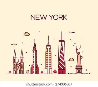 New York City skyline detailed silhouette. Trendy vector illustration, line art style.