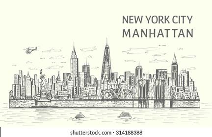 New York City skyline hand drawn sketch style,isolated illustration