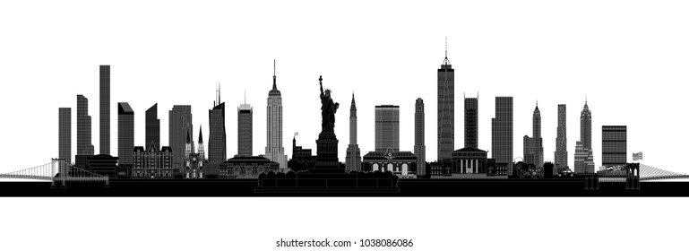 New York City skyline and landmarks silhouette, vector illustration, isolated on white