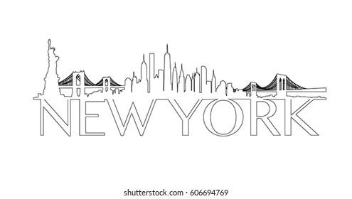 New York City Skyline Outline Vector
