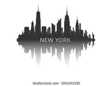 New york city skyline silhouette stock vector illustration