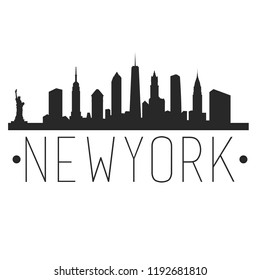 New York City Skyline Silhouette City Design Vector Famous Monuments