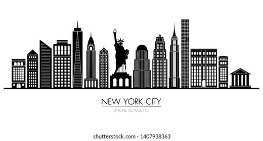 New York city skyline silhouette flat design, vector illustration