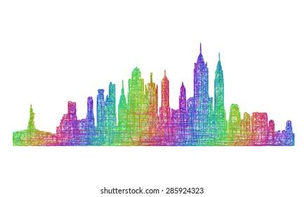 New York City skyline silhouette - multicolor line art