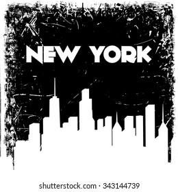 New York city skyline silhouette on grunge background. Vector hand drawn illustration. Design retro card, print, t-shirt, postcard