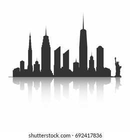 New York City skyline silhouette. Skyscrapers and Statue of Liberty, Vector