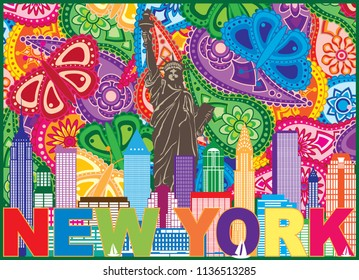 New York City Skyline with Statue of Liberty sun rays and text Paisley Pattern Color Outline vector Illustration