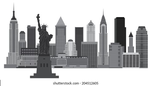 New York City Skyline with Statue of Liberty Black and White Vector Illustration