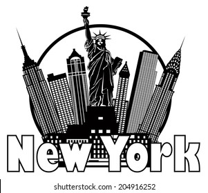 New York City Skyline with Statue of Liberty Black and White Circle Outline with Text Vector Illustration