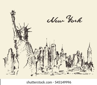 New York city skyline with Statue of Liberty on front, vector illustration, hand drawn, sketch