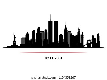 New York City Skyline with Twin Towers. World Trade Center. 09.11.2001 American Patriot Day anniversary banner. Vector illustration.