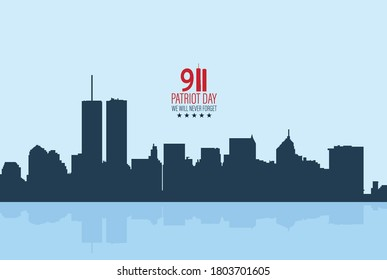 New York City Skyline with Twin Towers.  09.11.2001 American Patriot Day anniversary banner. Vector illustration. USA Patriot Day banner. World Trade Center.