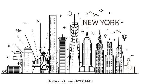 Skyline der Stadt New York, Vektorgrafik, flaches Design