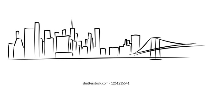 New York city Skyline vector sketch