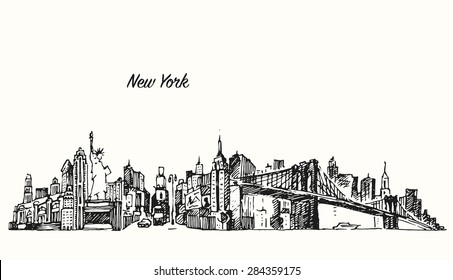New York city skyline, vector vintage engraved illustration, hand drawn, sketch