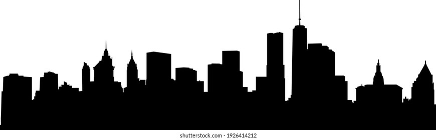 New York City skyscrapers. Skyline silhouette isolated on white background