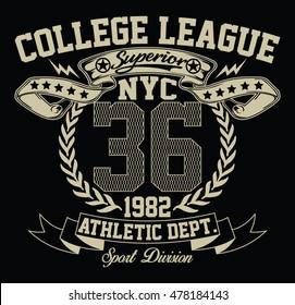 New York City sport typography, t-shirt graphics, vectors