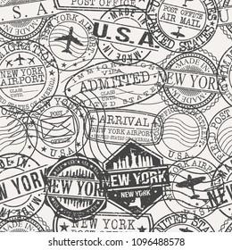 New York City Stamp Vector Art Postal Passport Travel Design Set Pattern