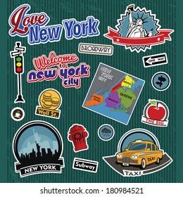 Aufkleber und Symbole der Stadt New York
