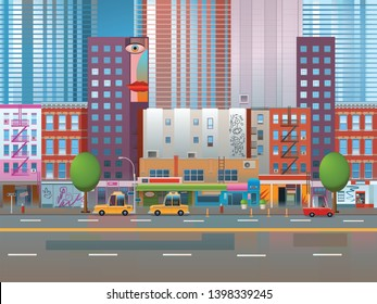New York city street concept, USA. Vector illustration of a street in big city. Cartoon background. Extreme long shot, XLS