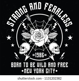 New York City strong and fearless slogan fashion patch, rose with leaves, fashion patches, badges  typography, t-shirt graphics, vectors