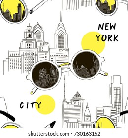 New York city and sunglasses pattern