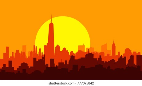 New York City Sunset is a Vector illustration with Skyline and bright Sun set.